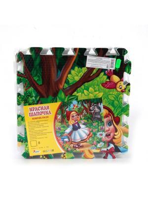 Коврик-пазл Играем вместе Красная шапочка, 8 сегментов 31.5х31.5 см.. Цвет: зеленый, коричневый