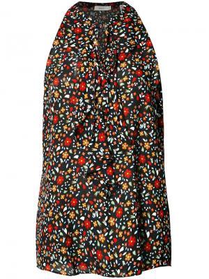 Блузка с цветочным узором и оборками A.L.C.. Цвет: чёрный