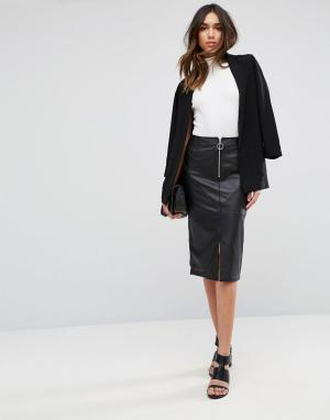 ASOS Кожаная юбка-карандаш с отделкой молнией. Цвет: черный