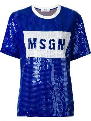 Футболка с пайетками MSGM. Цвет: синий