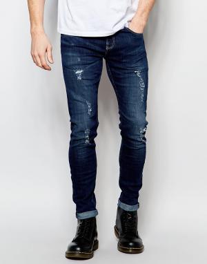 D.I.E Супероблегающие синие потертые джинсы . Storm. Цвет: синий