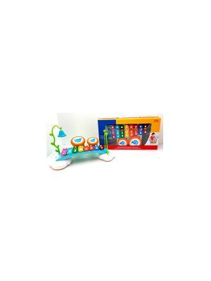 Музыкальный центр для малышей: ксилофон, барабаны, колокольчик HUILE. Цвет: голубой, белый, зеленый