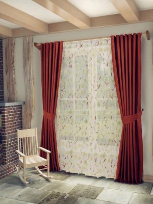 Комплект штор с тюлем SANPA HOME COLLECTION. Цвет: терракотовый