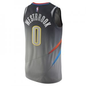 Мужское джерси  НБА Russell Westbrook City Edition Swingman Jersey (Oklahoma Thunder) с технологией Connect Nike. Цвет: серый