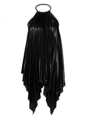 Плиссированная асимметричная блузка Ssheena. Цвет: чёрный