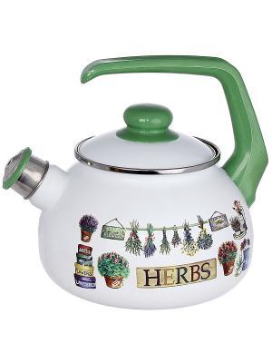 Чайник с бак. руч., со свистком, 2,5 л METROT. Цвет: зеленый, белый