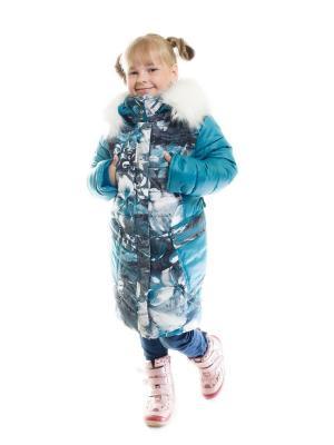 Пальто для девочки Лютики Пралеска. Цвет: бирюзовый
