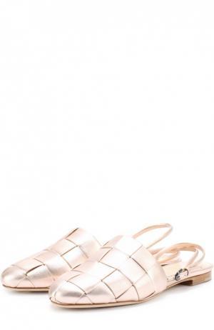 Сатиновые балетки с плетением Marco de Vincenzo. Цвет: бежевый