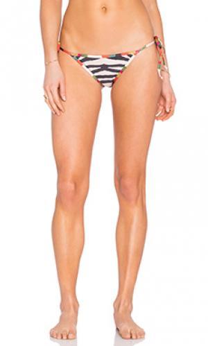Плавки бикини с завязками по бокам полосатый принт AGUADECOCO. Цвет: беж