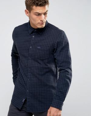 Jack Wills Черно-синяя фланелевая рубашка в клеточку Salcombe. Цвет: черный