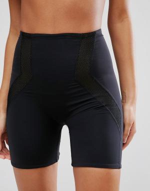 ASOS Корректирующие шорты с сетчатой вставкой. Цвет: черный