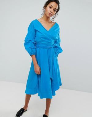 Style Mafia Платье с пышными рукавами. Цвет: синий