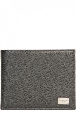 Кожаное портмоне с отделениями для кредитных карт и монет Dolce & Gabbana. Цвет: серый