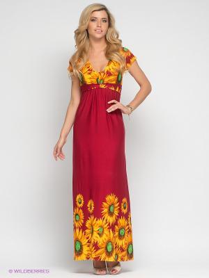 Платье МадаМ Т. Цвет: красный, оранжевый, желтый