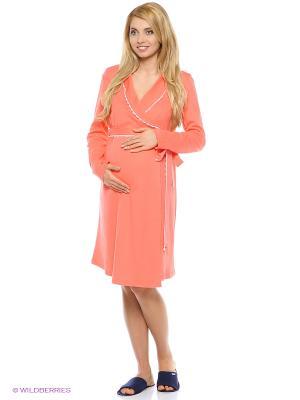 Комплект для беременных и кормящих (сорочка + халат) Hunny Mammy. Цвет: коралловый