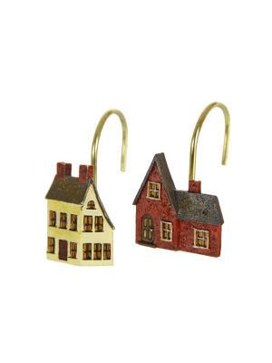 Двенадцать крючков для душевой шторки Blonder Home. Цвет: коричневый