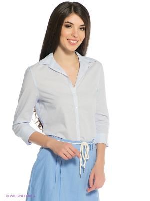Блузка Oodji. Цвет: голубой, белый