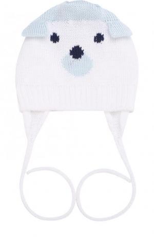 Хлопковая шапка с декором на завязках Catya. Цвет: голубой