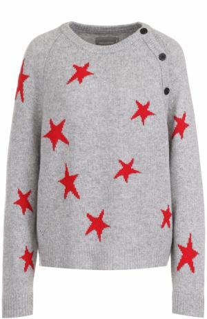 Кашемировый пуловер с принтом в виде звезд Zadig&Voltaire. Цвет: серый