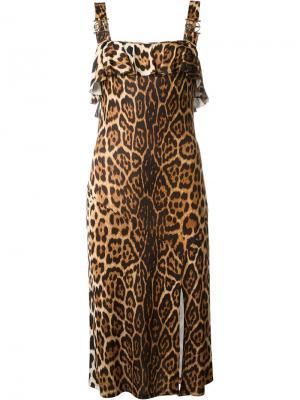 Платье с леопардовым принтом Christian Dior Vintage. Цвет: коричневый