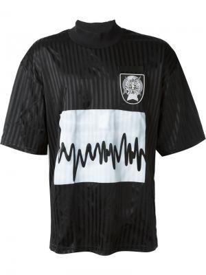 Футболка с принтом звуковой волны Liam Hodges. Цвет: чёрный