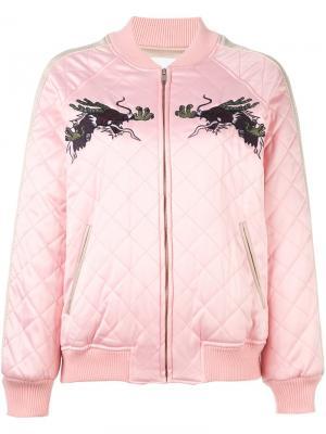 Куртка-бомбер с вышивкой Steve J & Yoni P. Цвет: розовый и фиолетовый