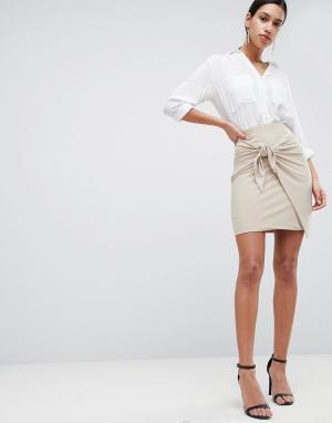 Love Облегающая юбка с декоративным узлом. Цвет: бежевый