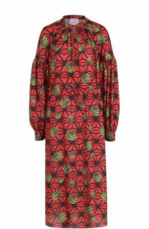 Приталенное платье-миди с ярким принтом Stella Jean. Цвет: красный
