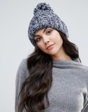 Alice Hannah Меланжевая шапка-бини крупной вязки. Цвет: темно-синий