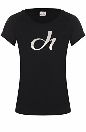 Спортивная футболка с контрастной отделкой Deha. Цвет: черный