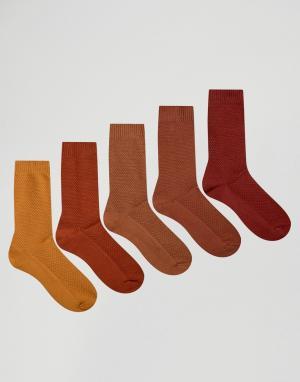 ASOS 5 пар носков из вафельной ткани красно-бурого цвета. Цвет: оранжевый