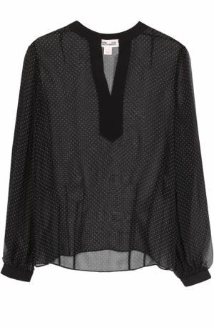 Шелковая полупрозрачная блуза в горох Diane Von Furstenberg. Цвет: черно-белый