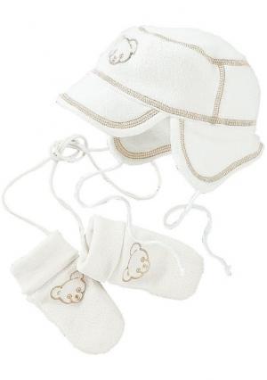 Комплект из флиса, 2 части: шапка и варежки KLITZEKLEIN. Цвет: цвет белой шерсти