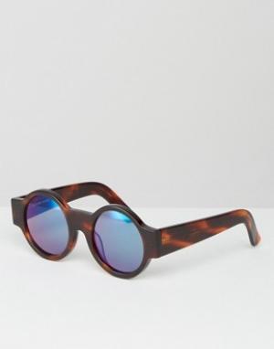 House of Holland Круглые солнцезащитные очки Wideside. Цвет: коричневый