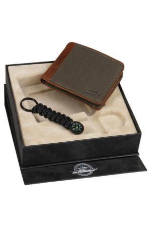 Набор: брелок-компас, портмоне Mr.Forsage. Цвет: коричневый, черный