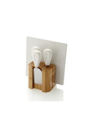 Набор из доски для резки, 3х ножей сыра на бамбуковой подставке Brandani. Цвет: белый