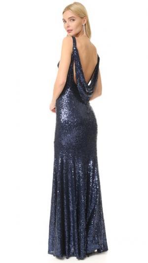 Вечернее платье Gemma Bateau Theia. Цвет: темно-синий