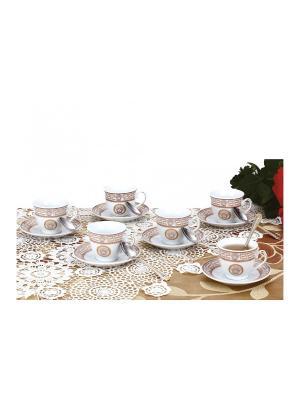 Набор кофейный с ложечками, 18 предметов Zillinger. Цвет: золотистый, белый
