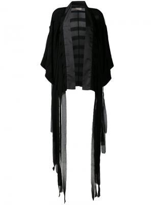 Пиджак-кимоно с бахромой Murmur. Цвет: чёрный