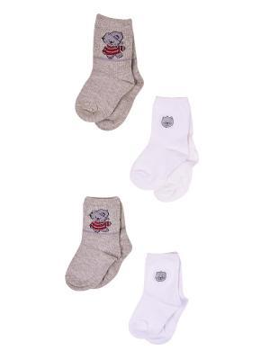 Носки, 4 пары Malerba. Цвет: серый