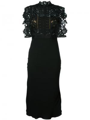 Платье с ажурной накидкой Self-Portrait. Цвет: чёрный