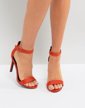 New Look Атласные босоножки на каблуке. Цвет: оранжевый