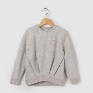 Пуловер с блестками и вышивкой, 3-12 лет R essentiel. Цвет: серый меланж