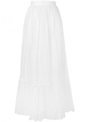 Плиссированная длинная юбка Valentino. Цвет: белый