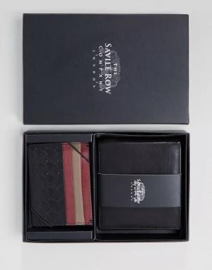 Saville Row Кожаные бумажник и кредитница. Цвет: черный