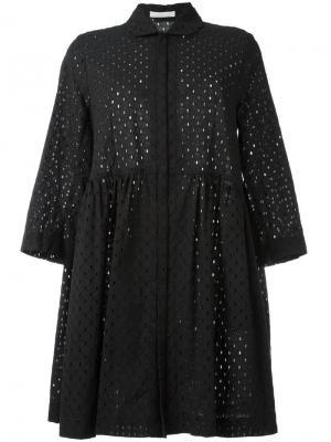 Ажурное расклешенное платье Peter Jensen. Цвет: чёрный