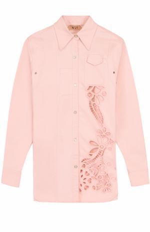 Блуза с перфорацией и декорированной спинкой No. 21. Цвет: розовый