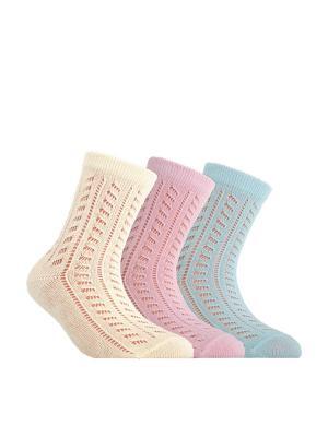 Носки MISS 7С-76СП комплект 3 пары Conte Kids. Цвет: бирюзовый, розовый, желтый
