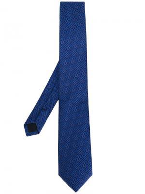 Классический галстук с вышивкой Versace. Цвет: синий