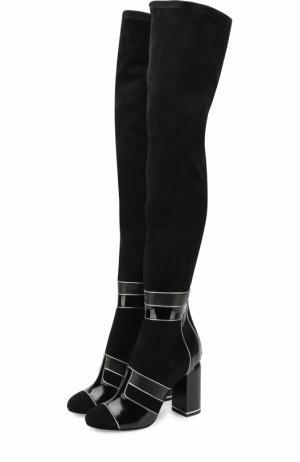 Замшевые ботфорты с лаковой отделкой на устойчивом каблуке Pierre Hardy. Цвет: черный